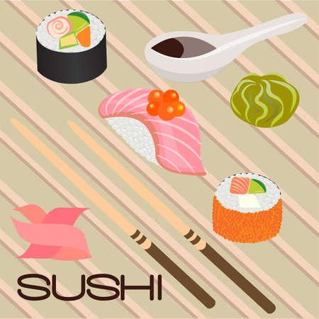 sushi roll: Seafood sushi, rotolo e bacchette. Illustrazione vettoriale Vettoriali