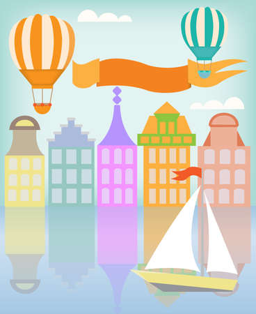 air port: Canal houses of European city with balloons and sailboat