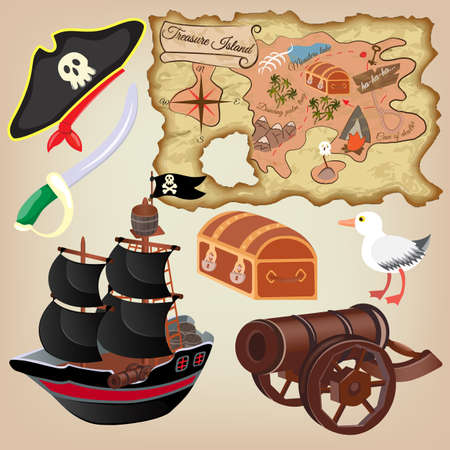Set of pirate attributes: The sailing craft, Gun and Map of Treasure Island