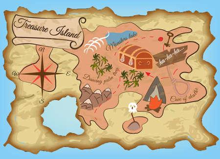 isla del tesoro: Mapa de la isla del tesoro. Ilustración vectorial EPS10