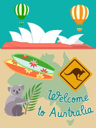 serf: Attributs of Australia: Koala Serf Road Sign Kangaroo. Travels around the world concept.