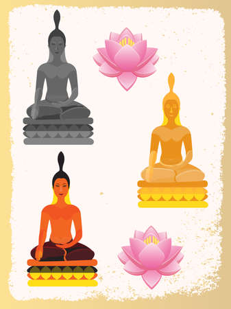 Lotus Flower and Buddha painted in different flowers: graphite Buddha gold Buddha and decorative Buddha Vector