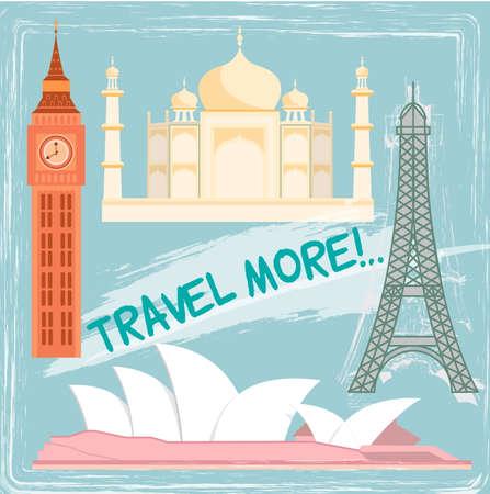 sidney: Travel and tourism locations: Big Ben Eiffel tower Taj Maha Sidney opera.