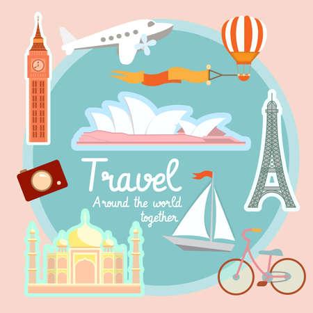 sidney: Travel and tourism around the world:  Big Ben Eiffel tower Taj Maha Sidney opera. Illustration