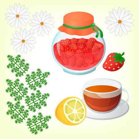 chamomile tea: Strawberry jam Tea with lemon and Chamomile. Get well soon concept.