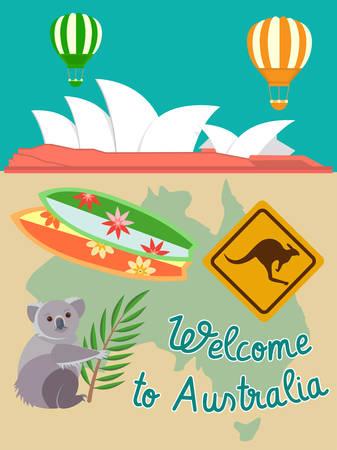 australia landscape: Sydney Opera House attributs of Australia: Koala Serf Road Sign Kangaroo. I travel around the world concept. Illustration