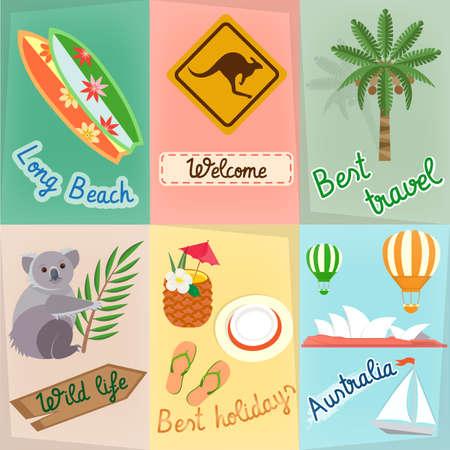 Set Travel in Australia: Koala Serf Road Sign Kangaroo Palm Tree Travels around the world concept Stock Illustratie