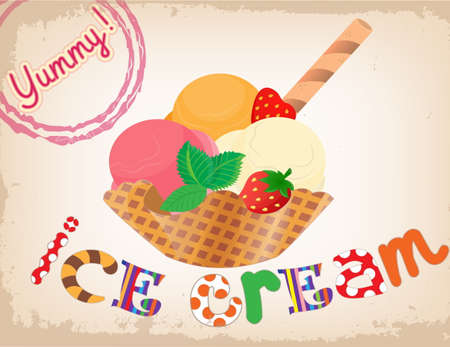 tubule: Mixed ice cream scoops in wafer basket with strawberry wafer tubule and mint vintage style