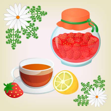 get well soon: Strawberry jam ChamomileTea with lemon and Chamomile Flowers. Get well soon concept. Illustration