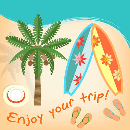 panama hat: Enjoy your trip: Palm tree Surfboards Hat and Flops on the Ocean Beach Illustration