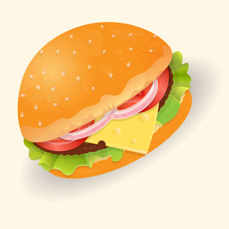 lettuce: Hamburger with cheese, lettuce, tomato and beef cutlet Illustration