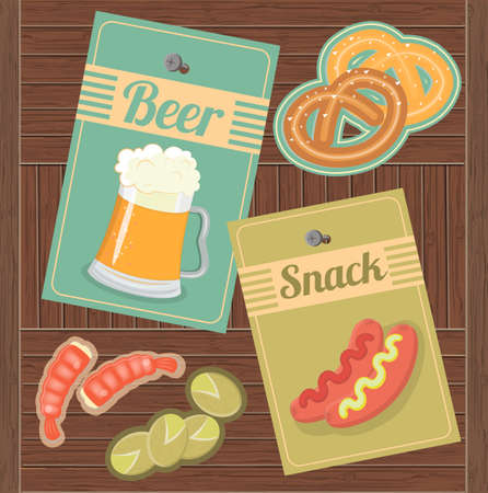 pistachios: Beer and Snack. Shrimp, pistachios, pretzels and hot dogs with mustard and ketchup to beer