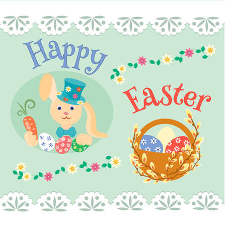 easter sign: Easter bunny with carrots and colored eggs and willow branch. Happy Easter sign. Illustration