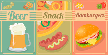 pistachios: Shrimps, pizza, pistachios, pretzels, hamburgers, sausages with mustard and ketchup to beer Illustration