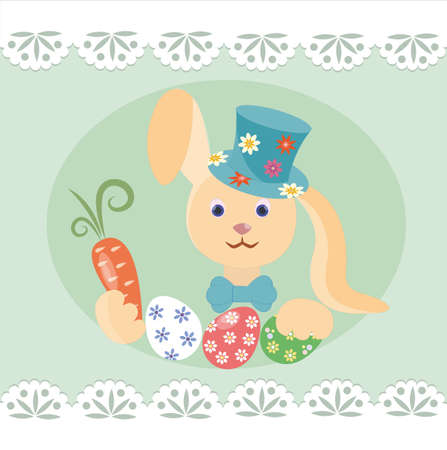 stovepipe hat: Easter bunny with carrots and colored eggs