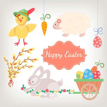 pasen schaap: Kip, lam en konijn met een kruiwagen en paaseieren, wilg met lint en groet Happy Easter