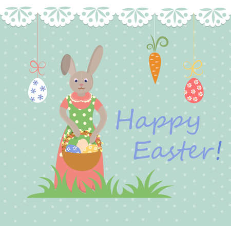 mrs: Mrs Bunny with basket of Easter eggs on Easter Illustration