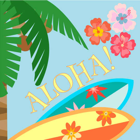 tiki party: Palm tree, Surfboards and hibiscus flowers