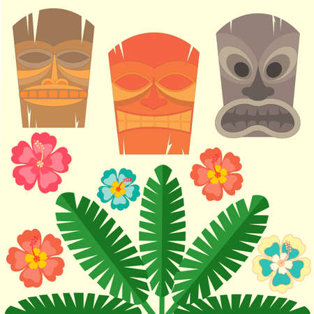 tiki party: Hawaiian mask with tropical palms and hibiscus flowers Illustration