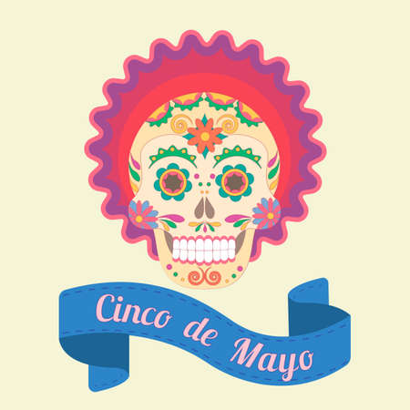 traditions: Cinco de Mayo, painted skull in national traditions of Mexico