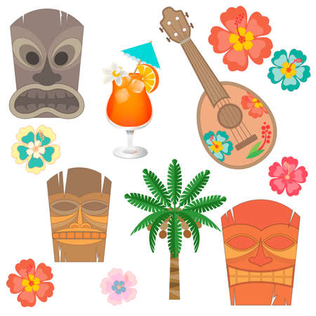 hibisco: Establecer Simbols y accesorios de Hawai. Ukelele, máscara de Hawaii, flores de hibisco y la palma de coco Vectores