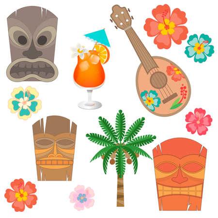 ibiscus: Set simboli e accessori Hawaii. Ukulele, Hawaii maschera, fiori di ibisco e palma da cocco
