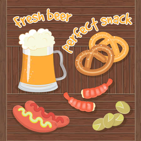 pistachios: Fresh Beer and Perfect Sna?k. Shrimp, pizza, pistachios, pretzels and sausages with mustard and ketchup to beer