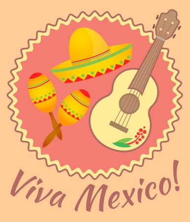 maracas: Sombrero, maracas and guitar on the poster Viva Mexico Illustration