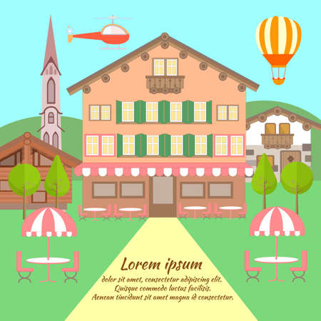 Hotel in the Austrian style, in a hilly area surrounded by nature. Vector illustration. Illusztráció