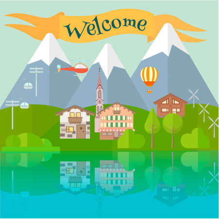 town house: The village in the mountains Scenic landscape Inscription Welcome Vector illustration