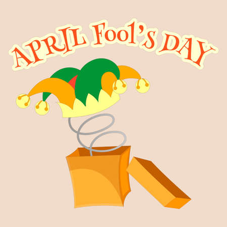 idiot box: April fools day. Fools cap with bells in a box with a spring Illustration