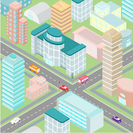 car road: ?rossroad in a big city with modern buildings in the isometric view