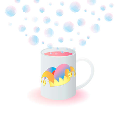 idiot box: Mug with a Jesters Hat and Magic Bubbles Illustration