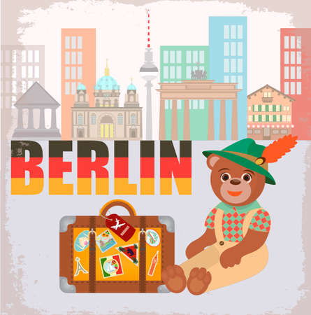 Bear In Berlin In National Symbol Hat With A Suitcase With Stickers