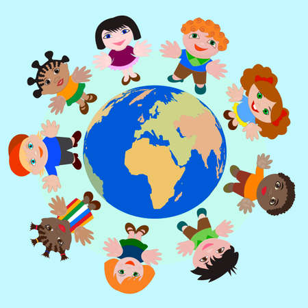 nations: Concept Children of different nations Dream of Peace on Earth
