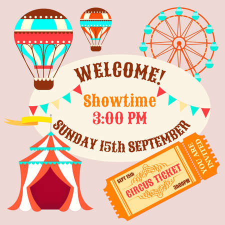 tabernacle: Showtime Circus Poster. Circus tent, balloons and a ticket to the circus.