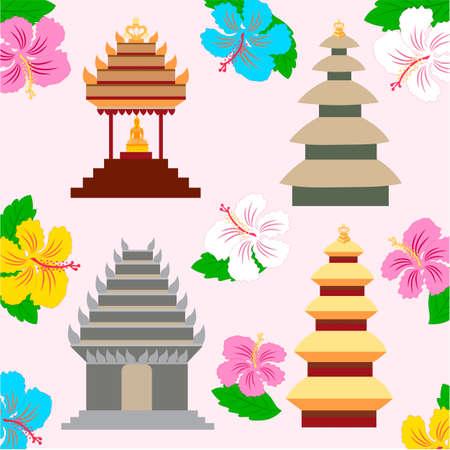 pagoda: Indonesian pagoda and hibiscus flowers