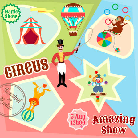 announcing: Posters circus juggling clown, lion on the ball, and the monkey gymnast on the bike to advertise a circus show