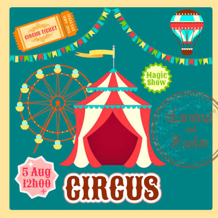announcing: Poster Fair, ?ircus, ?arnival. Circus tent, balloon, ride the wheel and a ticket to the circus.