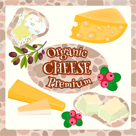 edam: Different varieties of cheese. Organic Prenium quality cheese with with berries cranberries and olive branch