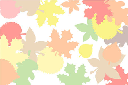 transparency color: Collage of autumn leaves in yellow, orange and red colors with transparency on the white color as a background for invitations and business cards