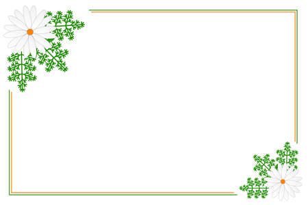 rheum: Card with Flower and Leaves of Chamomile. Vector illustration.