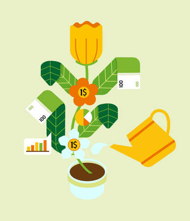 Money tree in the shape of a flower and banknotes instead of leaves. Vector illustration.