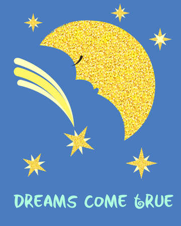 date night: Golden Moon and Golden Stars in the sky Dreams Come True