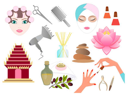hairdressing accessories: Set of Accessories for Hairdressing Salon and Spa Illustration