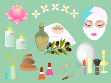 Set Accessories for Spa Salon and Beauty parlor. Vector illustration.