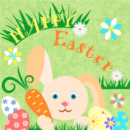 Happy Easter Poster Bunny and Easter Eggs among grass and flowers. Vector illustration EPS10. Illustration