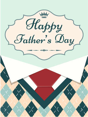 menswear: Greeting card Happy Fathers Day with menswear elements and frame with text Vector illustration