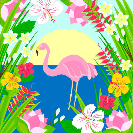 Flamingo in the sun, sea and tropical flowers. Vector illustration.