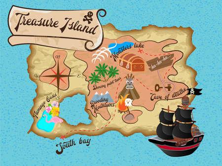 Schat Island Pirate Map voor Quest Vector illustratie
